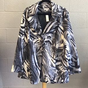 Xl Susan Graver Gray animal print spring jacket